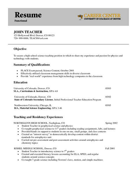 doc 8201076 secondary resume exle bizdoska