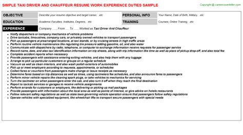 Taxi Driver Resumen by 100 Resume Format For Driver Uk Resume Template 28