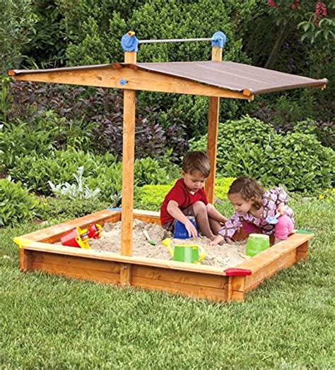 tierra garden  large childrens wooden sandbox  roof buy   uae lawn