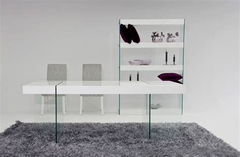 aura modern white floating dining table