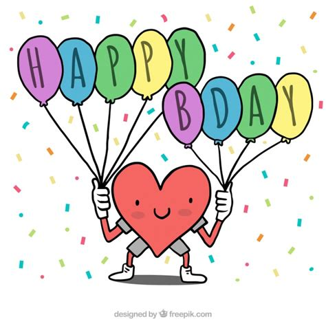 Heart background with happy birthday balloons Vector