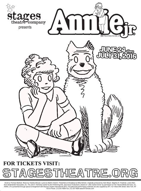 Musical theatre coloring sheets pages template. Annie The Musical Pages Coloring Pages