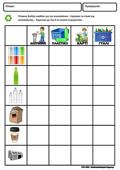 recycling worksheets math for kindergarten pyp sharing the planet recycling waste