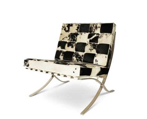 Cowhide Barcelona Chair by Barcelona Chair Stool Cowhide