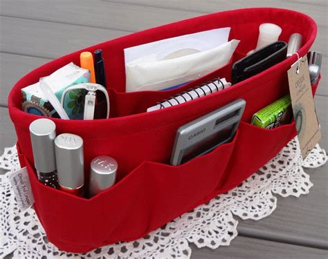 Red / Purse Organizer Insert Shaper / Bag By Divideandconquer