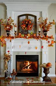 Adventures in decorating our fall mantel for Fireplace mantel decorating ideas for fall
