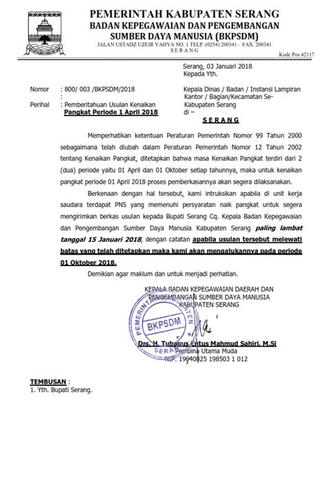 surat pemberitahuan kenaikan pangkat periode april