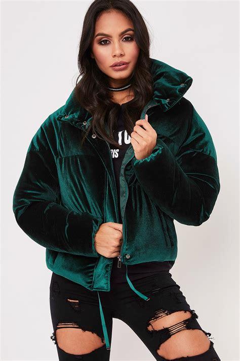 Zara Green Velvet Puffer Jacket