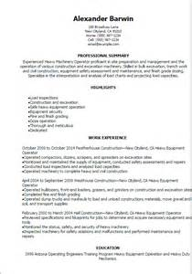 resume cover letter heavy equipment operator professional heavy machinery operator resume templates to