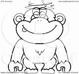 Dumb Drunk Chimpanzee Cartoon Clipart Coloring Outlined Vector Cory Thoman Royalty sketch template