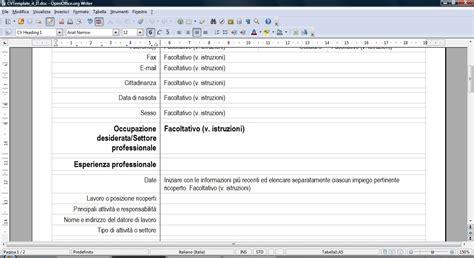 un curriculum vitae formato europeo 1a parte lavorare