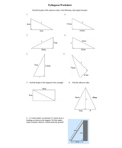 10 pythagorean theorem worksheet sle templates