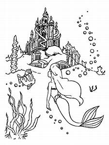 Ariel Is Going To The Castle Coloring Page Free