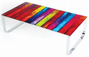 Modern multi color glass coffee table rainbow modern for Colourful coffee table