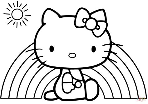 kitty rainbow coloring page  printable coloring pages