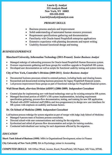 How To Write Resume For Business Analyst by Resume Writing For Business Analyst