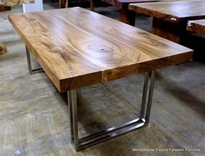79quot l modern desk dining table exotic solid acacia wood With stainless steel and wood dining table
