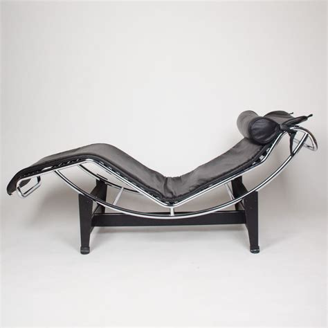 Black Acrylic Frame Chaise Lounge Chair With Black Leather