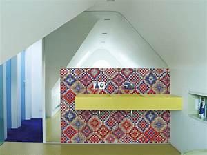Papier Peint Pour Salle De Bain : papier peint motifs g om triques pour salle de bain ~ Dailycaller-alerts.com Idées de Décoration