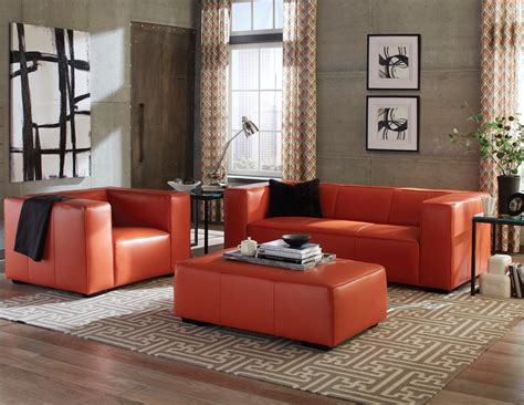 Hayden Tangerine Top Grain Leather Living Room Set From Blue Green Shower Curtain Turquoise Liner Animal Extra Long Curtains For Walk In Showers Threshold Bird Opaque Flower Peace