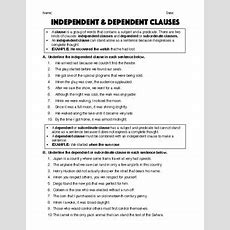 Independent & Dependent Clauses  Worksheet & Answer Key By Robert's Resources