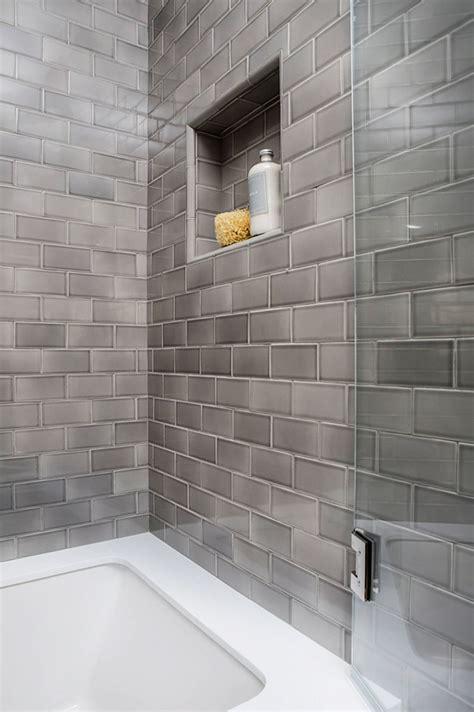 bathroom reno  grey subway tile home bunch interior