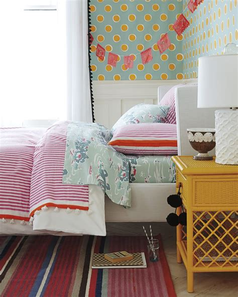 Candy Stripe Coverlet & Sham For A Girl's Bedroom