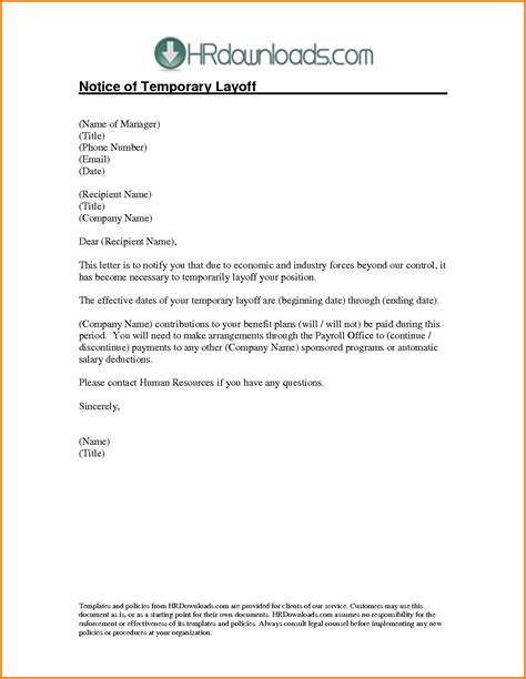 sample layoff letter authorization letter