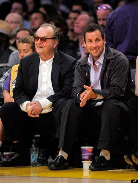 adam sandler jack nicholson catch  lakers game photo