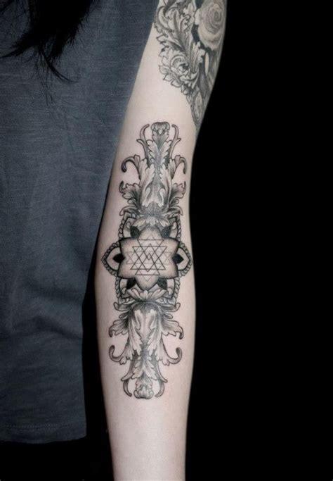 geometric floral arm forearm tattoos tattoo