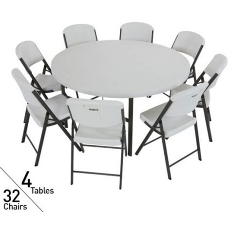 lifetime tables and chairs lifetime 4 round tables 32 chairs set white