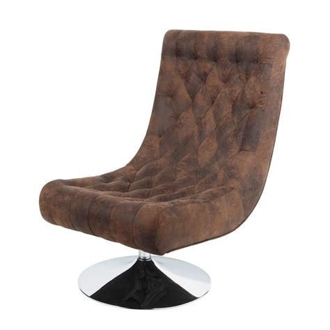 fauteuil capitonn 233 en microfibre marron bossley maisons