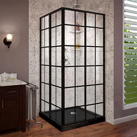 shower kit dreamline corner black acrylic floor square 2