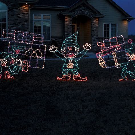 set of three pixie elves frontgate outdoor christmas decorations set of three outdoor lighted elves frontgate outdoor decorations traditional