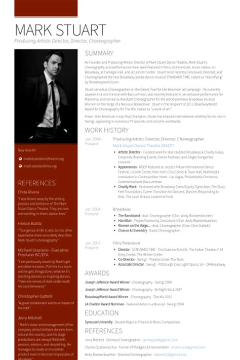 artistic director resume sles visualcv resume sles