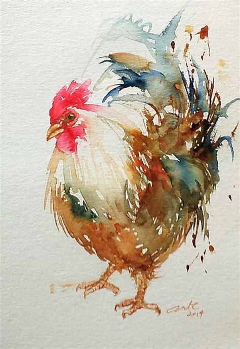 rooster white original art   artiart  etsy art