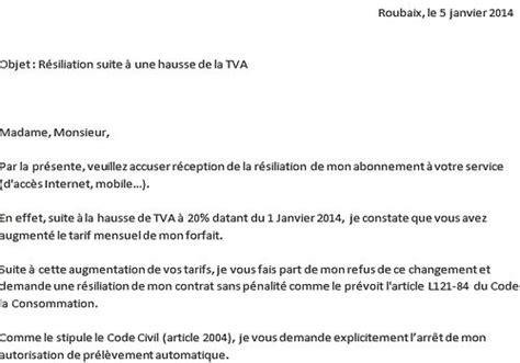 modele lettre changement conditions de paiement mod 232 le de lettre r 233 siliation hausse tva 2014 224 t 233 l 233 charger