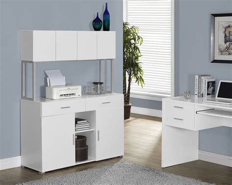white hollow office storage credenza from monarch