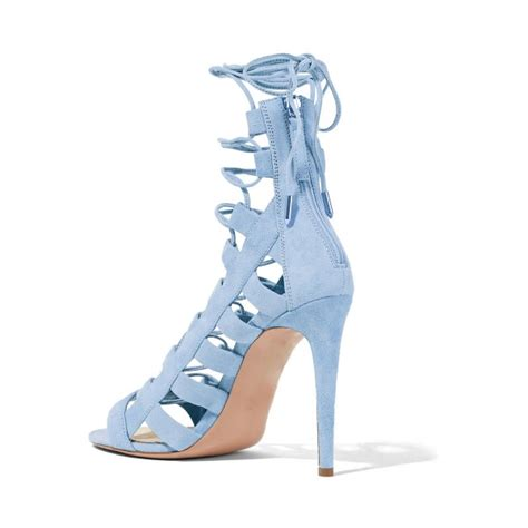 light blue strappy heels light blue lace up sandals strappy open toe suede stiletto