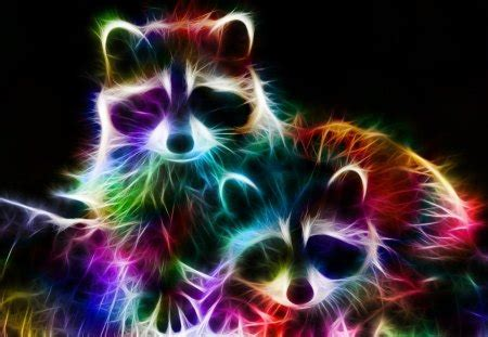 Rainbow Animal Wallpaper - fractal racoons by minimoo64 other animals background