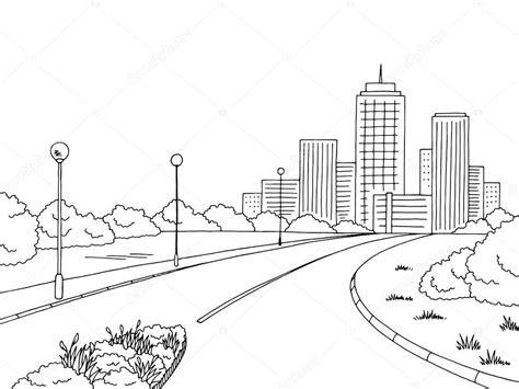 rua estrada grafico preto branco cidade paisagem desenho
