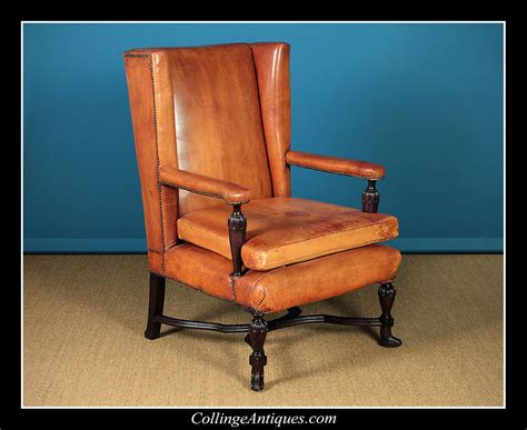 Large High Back Leather Armchair.