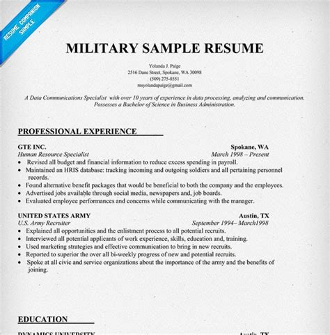 how to put army experience on resume 28 images