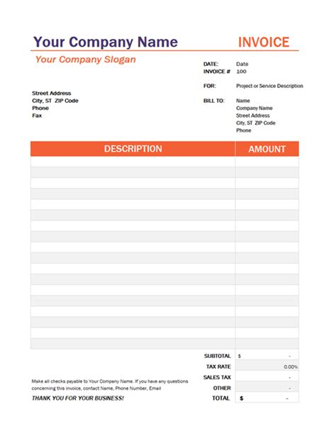 invoice with tax calculation