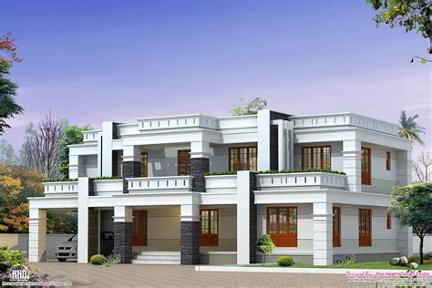 Flat Houses Designs Pictures by Flat Roof Luxury Home Design Kerala Home Design And