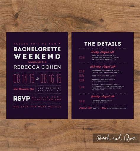 printable bachelorette weekend invitation  itinerary