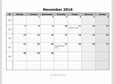 November 2016 Calendar WikiDatesorg