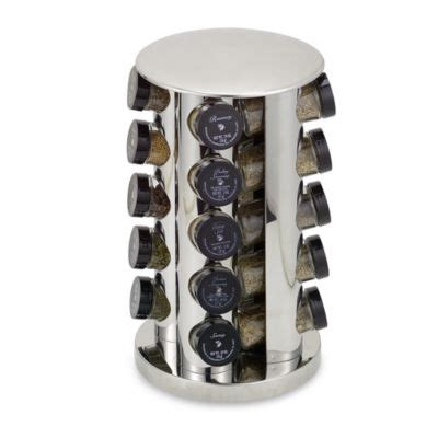 20 Jar Rotating Spice Rack by Kamenstein 174 Stainless Steel 20 Jar Filled Revolving Spice