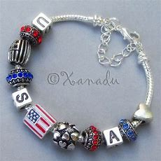 Usa European Charm Bracelet With American Flag Charms And