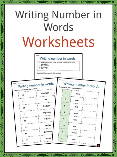 writing numbers  words worksheets numerals number words